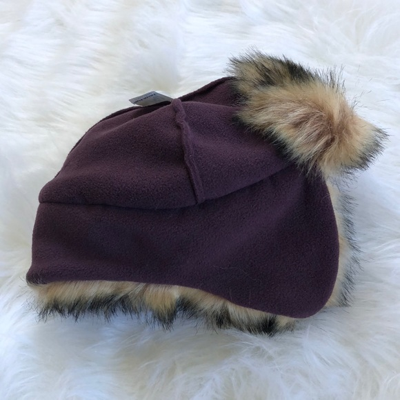 Baby GAP faux fur and fleece purple trapper hat beaa4dcc435